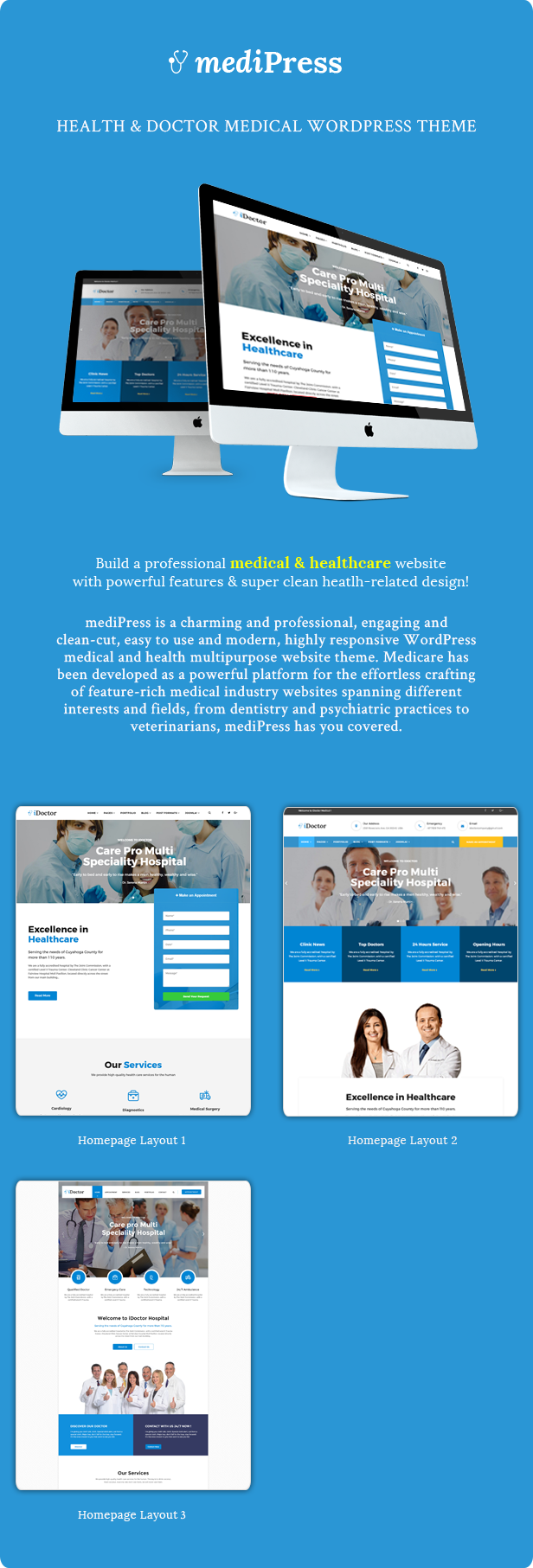 mediPress - Health and Doctor Medical WordPress Theme - 2