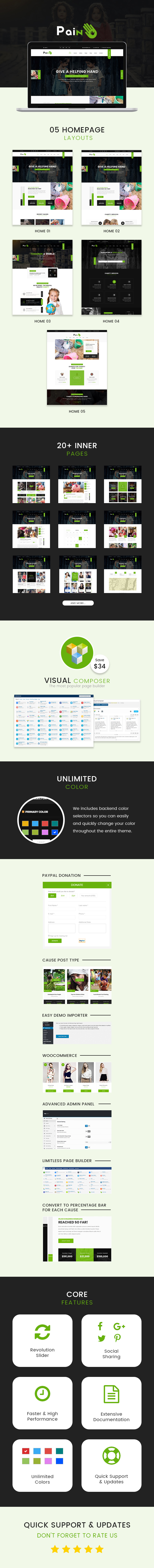 Charity  WordPress Theme  Download Pain – Charity & Fundraise Non-profit WordPress Theme nulled pain description 1